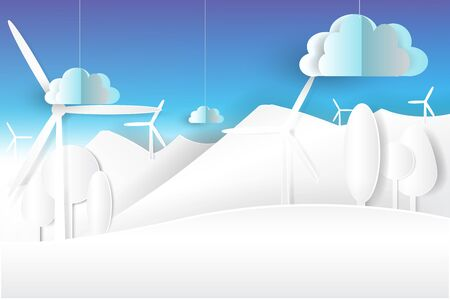 eco environment nature white and blue sky.paper cut art,vector