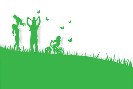 Green background happy family having fun playing in the field,paper art,vector Illustration