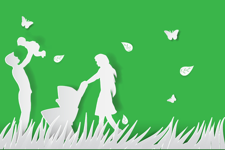 Green background happy family having fun playing in the field.paper cut style,vector