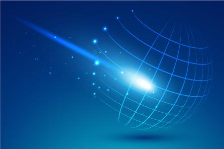Punto tecnológico y curva construido el marco de alambre esfera, ilustración abstracta. Vectores