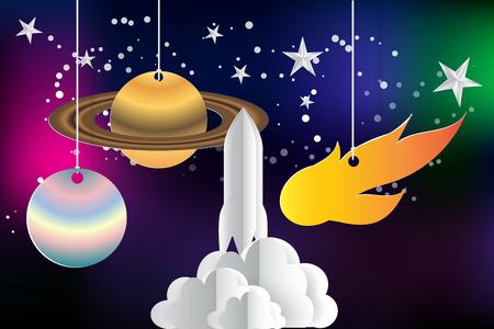 paper art of startup rocket with space,saturn,jupiter,stars,vector
