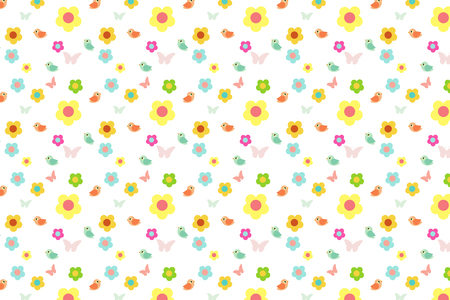 pattern: cartoon flower and bird with colorful sweet pattern background,vector