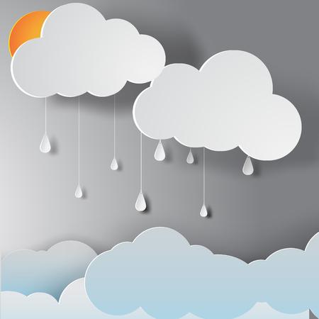 Arte de papel de la temporada de lluvias, vector Foto de archivo - 80839909