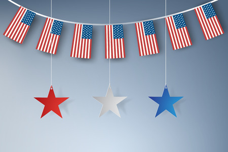 Paper art of American stars banners template vector design