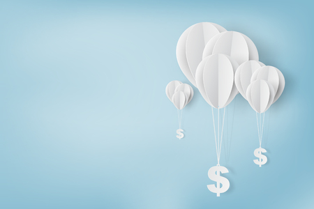 Paper art of , balloon with dollar sign on,business and management concept and idea,vector  イラスト・ベクター素材