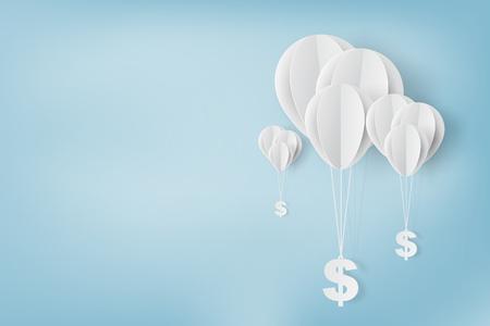 Document kunst van, ballon met dollarteken, bedrijfs en beheersconcept en idee, vector