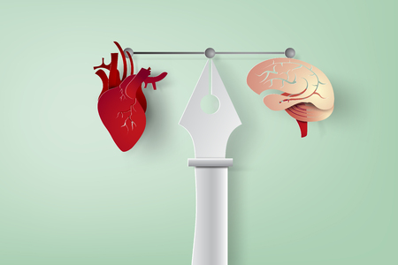 paper art of pen graphic designer and work tools and equipment,brain,heart, Vector illustration.