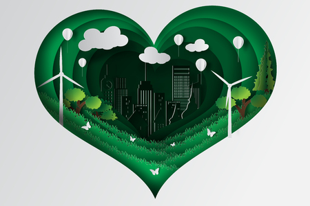 Paper art style of heart green town with ecology concept idea,vector Illustration