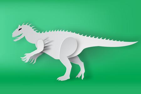 paper art of Indominous Rex dinosour on green background vector,isolate,mascot Illustration
