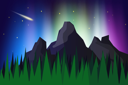 Lanscape mountain view with aurora borealis abstract background vector illustration,The northern lights
