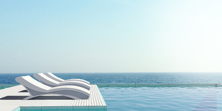 Pool terrace with sea view image,Beautiful view of Swimming Pool with the sea at sunlight - 3d rendering