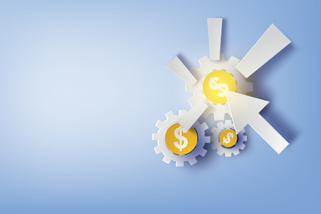 Paper art of pay per click with design business concepts. Vector illustration.