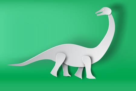 Paper art of Apatosaurus dinosaur on green background vector Illustration