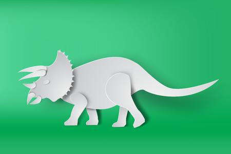 Paper art of Triceratops dinosaur on green background vector