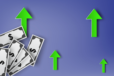 wealth management: Paper art of Increasing dollar sign currency abstract vector arrows background