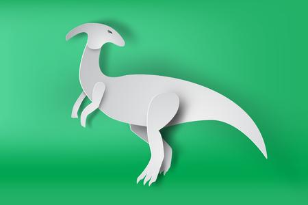 Paper art of Parasaurolophus dinosaur on green background Illustration