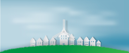 Paper art of cityscape and lanscape with blue sky background, mountain, white illustration