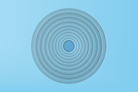 Paper art of blue circle with shadow background, vector illustration.