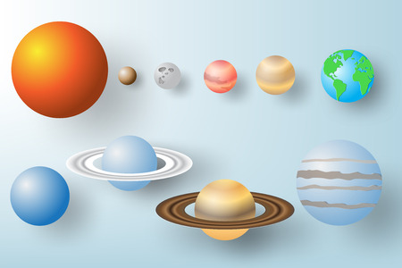 Paper art of planet with solar system background, vector illustration.