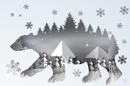 Paper art of forest landscape snow with polar bear curve,hill,vector Vettoriali