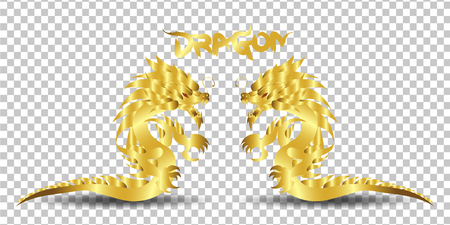 gold dragon silhouette on transparent background.vector illustration
