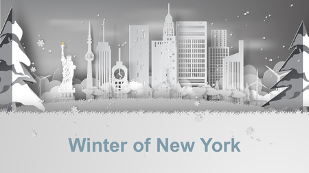 paper art of Travel winter and snow season of world famous landmarks of New York City, America,vector