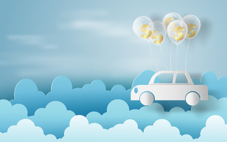 Paper art of balloon with dollar sign money on business and car concept and idea,blue sky,cloud,vector