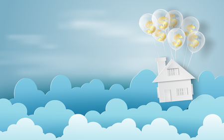 Paper art of balloon with dollar sign money on business and home finance concept and idea,blue sky,cloud,vector