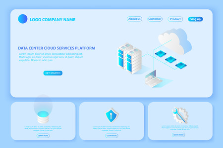 Header for Website of Platform Data center cloud services.page suggesting to buy or rent a servers and hosting.computing or storage and Digital network connection isometric 3d illustration concept vector