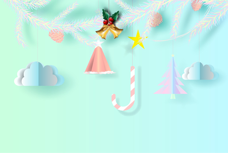 Merry christmas background of bright candy chewy color tone,Paper art andcraft for Merry christmas day poster and postcard,  paper cut style with Hanging with colorful.vector,illustration