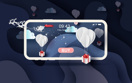 3D Paper art of white balloons gift  floating on Abstract Curve shape blue night background,Merry christmas landscape winter season of mobile shopping online  place for your love text space vector. Illustration