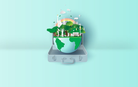 3D Paper art and craft of ecology Environment in suitcase concept your text space background. Eco friendly family in the earth.Using pastel colors that are beautiful and comfortable.balloon.vector