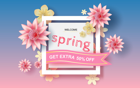 3D Paper art and craft of Floral rectangle frame with place for text, Spring season Floral concept with flowers of pastel sweet tone color,Lovely cute with colorful frame,cut,vector.illustration.