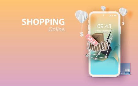 Arte de papel de teléfono inteligente para compras en línea su fondo de espacio de texto, carrito de compras flotando en el concepto de teléfono móvil, globo por dólar en color pastel, compras a través de la tienda de internet.vector. Ilustración de vector