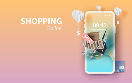 Papier kunst van smartphone voor online winkelen uw tekst ruimte achtergrond, winkelwagen drijvend op mobiele telefoon concept, ballon door dollar geld op pastel kleur, winkelen via de internet shop.vector. Vector Illustratie