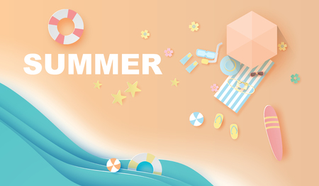 illustration of paper art and craft top view  travel summer season on the beach,Summer time for swimming equipment,Seaside with landscape pastel color tone background,Paper cut style digital vector.
