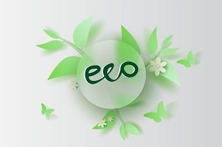 Paper art and craft of illustration Eco leaf and flower decoration spring on placed text space background,Springtime season for Environment card concept,Creative paper cut style,circle frame vector.  일러스트