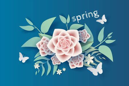 3D Paper art and craft of illustration flower and leaf decoration spring on placed text space background,Springtime season for card Environment concept,Creative idea paper cut style with card,vector