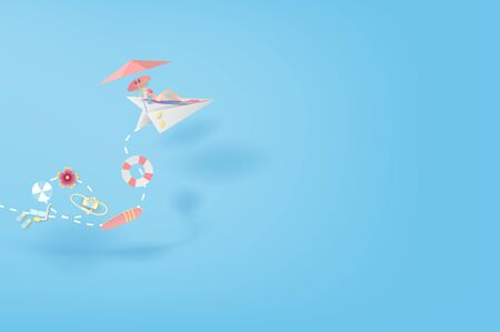 3D Paper art and craft of illustration Tropical summertime on paper airplane flying concept,Summer season Young women Sunbathing,BY pastel colorful,creative design paper cut idea background.vector Archivio Fotografico - 134771704