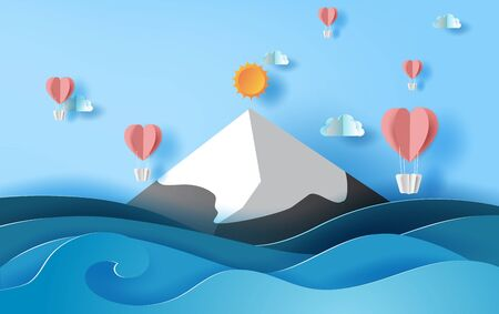 3D paper art of illustration summer season balloons heart floating on sky,  Landscape snowy mountain sea view scene,Creative design Paper cut idea summer time concept,pastel color background vector