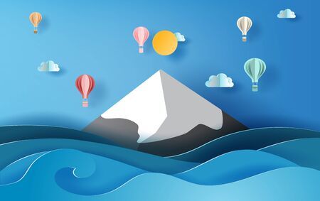 3D paper art of illustration summer season balloons colorful floating on sky,  Landscape snowy mountain sea view scene,Creative design Paper cut idea summer time concept,pastel color background vector 일러스트