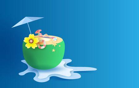 3D Paper art and craft of illustration Tropical summertime on coconut concept,Summer season Young women Sunbathing,pastel,Creative design splash water paper cut digital idea background.vector Archivio Fotografico - 134771710