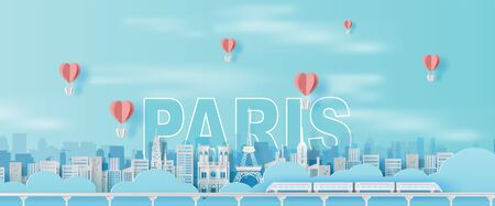 Paper art and craft of Traveling holiday Eiffel tower Paris city France,Travel holiday time transportation train landmarks city pastel color landscape concept, Balloon heart Float on air sky.vector.