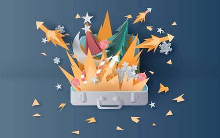 illustration of bonfire and fireworks art decorations in christmas with suitcase concept. Creative design paper cut and craft for travel holiday winter season party.graphic idea vacation vector. Illusztráció