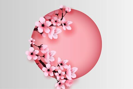 illustration of paper art and craft circle decorated spring season cherry blossom concept,Springtime with sakura branch, Design Floral Cherry blossom with pink flowers on text space background,vector.