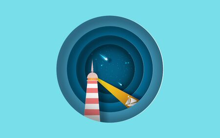 illustration of Island with lighthouse Lighting boat on sea view at night the star on sky circle concept,Summer time night season Graphic design simple circle Seaside, Paper craft and cut style.vector 일러스트