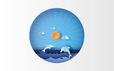 3D illustration art of seascape view with jumping dolphin life on sea view sky beautiful.Summertime season background with blue pastel color tone.Paper cut and craft style.vector for poster.circle.