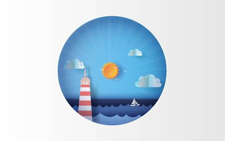 3D illustration of Island with lighthouse Lighting boat on sea view at sunlight on sky circle concept,Holiday Summer time season Graphic design simple circle Seaside, Paper craft and cut.vector.eps10.
