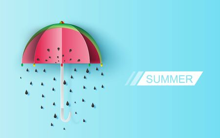 Umbrella Cute of watermelon rain seeds on blue background. Creative paper cut and craft about Lovely day.Festive greeting for poster Valentines Day for.Holiday summer card concept vector illustration
