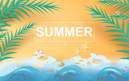 illustration of Beautiful summer beach poster background. Creative design paper cut and craft style. Summertime sea wave for card and banner.minimal pastel color.Holiday .tropical.vector. EPS10 일러스트